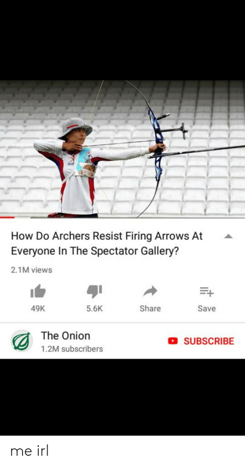 The Onion, Onion, and Irl: How Do Archers Resist Firing Arrows At  Everyone In The Spectator Gallery?  2.1M views  49K  5.6K  Share  Save  The Onion  1.2M subscribers  SUBSCRIBE me irl
