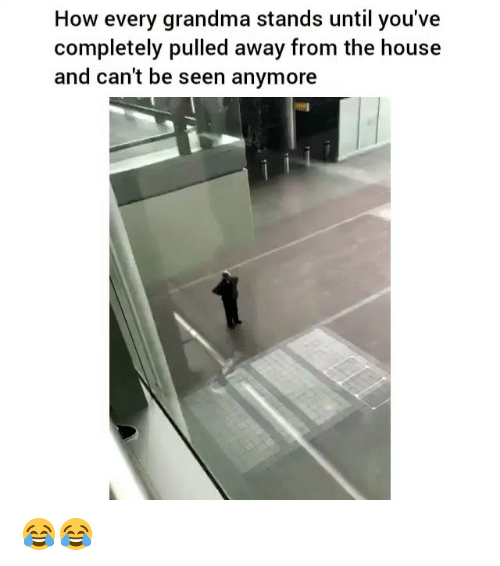 Funny, Grandma, and House: How every grandma stands until you've  completely pulled away from the house  and can't be seen anymore 😂😂