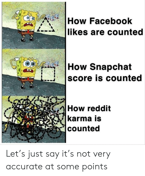 Facebook, Reddit, and Snapchat: How Facebook  likes are counted  |How Snapchat  score is counted  How reddit  karma is  counted Let's just say it's not very accurate at some points