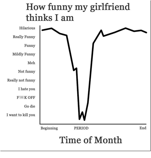 Meh, Memes, and Period: How funny my girlfriend  thinks I am  Hilarious  Really Funny  Funny  Mildly Funny  Meh  Not funny  Really not funny  I hate you.  K OFF  Go die  I want to kill you  PERIOD  Beginning  Time of Month  End