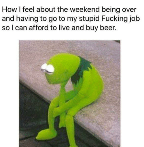 Beer, Fucking, and Memes: How I feel about the weekend being over  and having to go to my stupid Fucking job  so l can afford to live and buy beer.