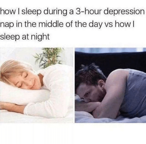 Depression, The Middle, and Sleep: how I sleep during a 3-hour depression  nap in the middle of the day vs howI  sleep at night