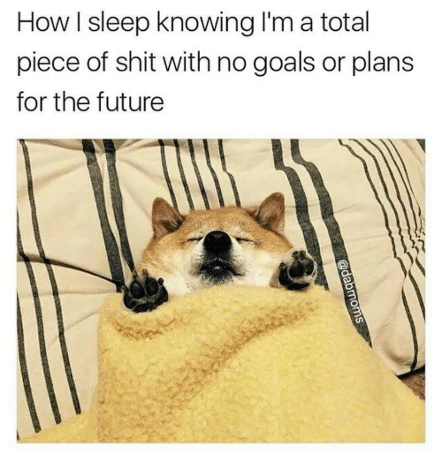 How I Sleep: How I sleep knowing I'm a total  piece of shit with no goals or plans  for the future