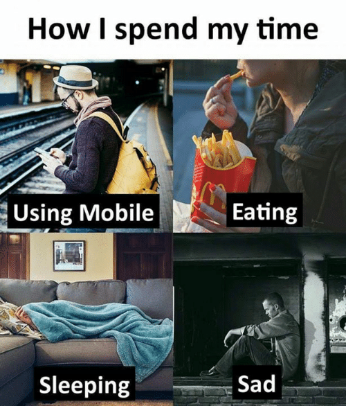 ting: How I spend my time  Using Moble ting  Sleeping  Sad
