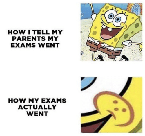 Parents, How, and Went: HOW I TELL MY  PARENTS MY  EXAMS WENT  HOW MY EXAMS  ACTUALLY  WENT