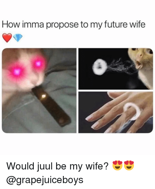 Funny, Future, and Wife: How imma propose to my future wife Would juul be my wife? 😍😍 @grapejuiceboys