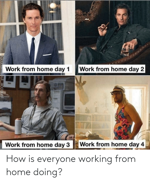 working: How is everyone working from home doing?