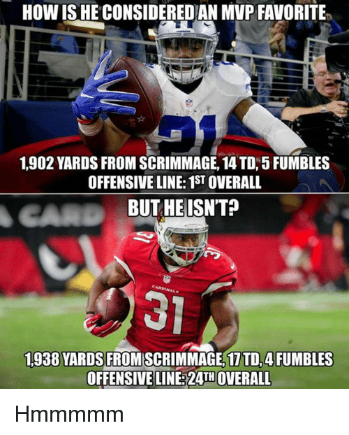 Memes, 🤖, and How: HOW ISHE CONSIDEREDAN MVP FAVORITE  1.902 YARDS FROM SCRIMMAGE, 14 TD, 5 FUMBLES  OFFENSIVE LINE: 1STOVERALL  BUT HE ISN'T  1,938 YARDS  FROMISCRIMMAGE, 1 TD, 4FUMBLES  OFFENSIVE LINE 24TH OVERALL Hmmmmm