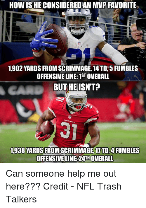 Nfl, Trash, and Help: HOW ISHE CONSIDEREDAN MVP FAVORITE  1.902 YARDS FROM SCRIMMAGE, 14 TD, 5 FUMBLES  OFFENSIVE LINE: 1STOVERALL  BUT HE ISNT?  1,938 YARDS  FROMSCRIMMAGE, 1 TD, 4FUMBLES  OFFENSIVE LINE 24TH OVERALL Can someone help me out here???  Credit - NFL Trash Talkers