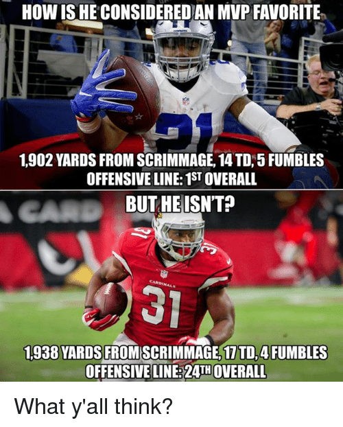 How, Mvp, and Think: HOW ISHE CONSIDEREDAN MVP FAVORITE  1.902 YARDS FROM SCRIMMAGE, 14 TD, 5 FUMBLES  OFFENSIVE LINE: 1STOVERALL  BUT HE ISNT?  1,938 YARDS  FROMSCRIMMAGE, 1 TD, 4FUMBLES  OFFENSIVE LINE 24TH OVERALL What y'all think?