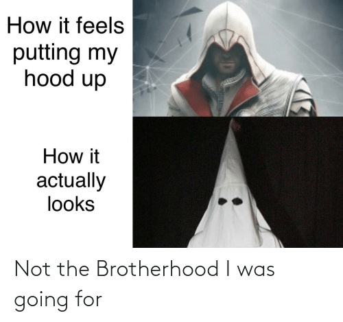 How It Feels: How it feels  putting my  hood up  How it  actually  looks Not the Brotherhood I was going for