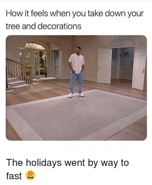 decorations: How it feels when you take down your  tree and decorations The holidays went by way to fast 😩