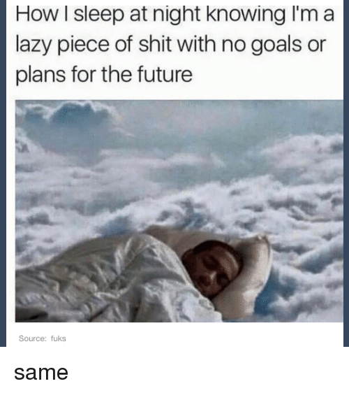 no goal: How l sleep at night knowing I'm a  lazy piece of shit with no goals or  plans for the future  Source: fuks same