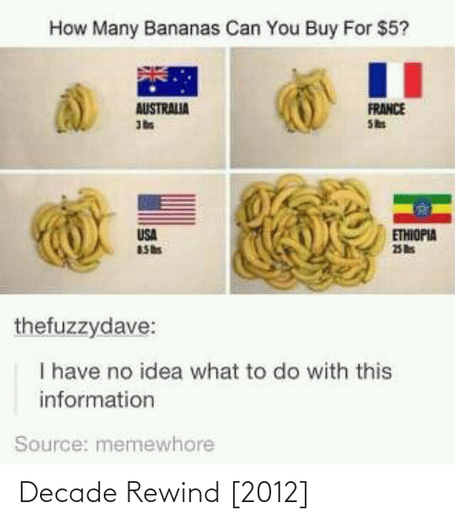 Australia, France, and Information: How Many Bananas Can You Buy For $5?  FRANCE  She  AUSTRALIA  USA  ETHIOPIA  thefuzzydave:  I have no idea what to do with this  information  Source: memewhore Decade Rewind [2012]