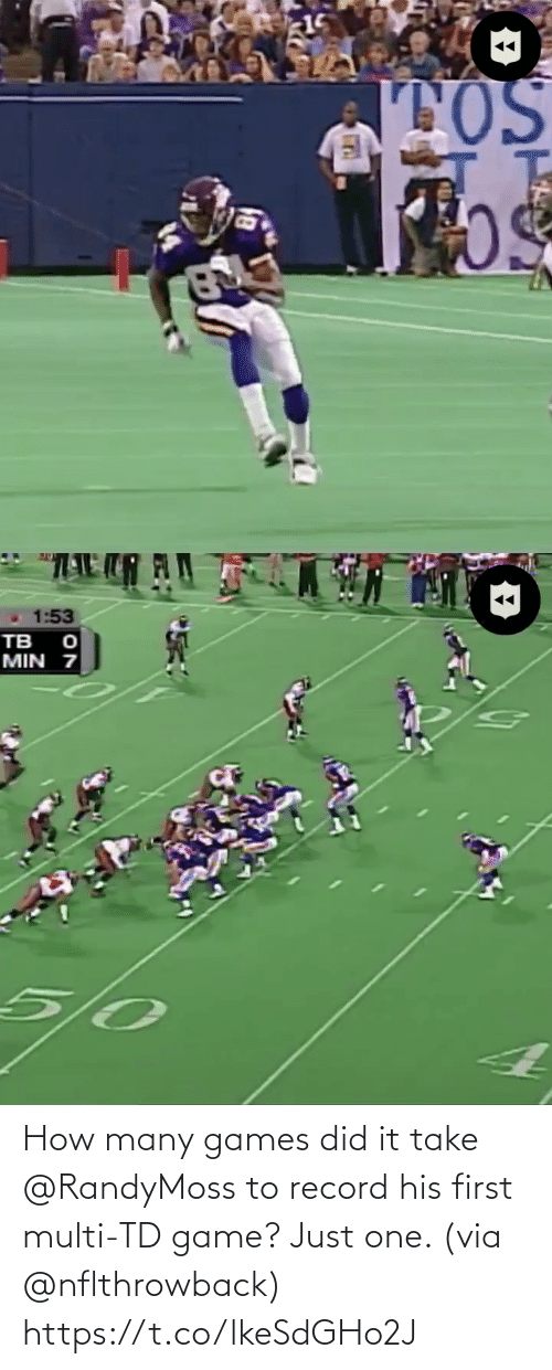 Record: How many games did it take @RandyMoss to record his first multi-TD game? Just one. (via @nflthrowback) https://t.co/lkeSdGHo2J
