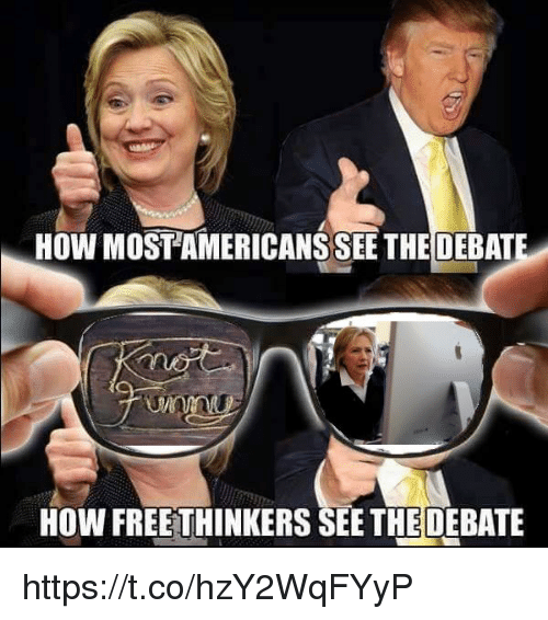 How, Americans, and  See: HOW MOST AMERICANS SEE THE DEBAT  HOW FREETHINKERS SEE THEDEBATE https://t.co/hzY2WqFYyP