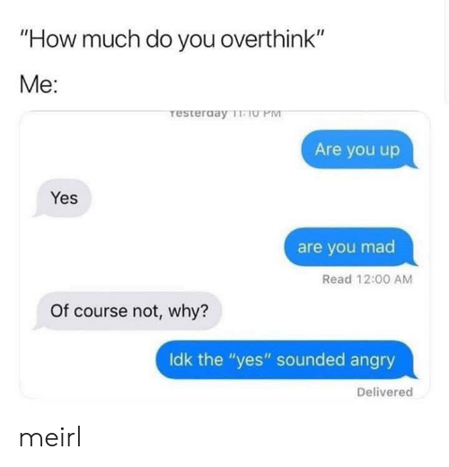 """you mad: """"How much do you overthink""""  Me:  resterday TeU PM  Are you up  Yes  are you mad  Read 12:00 AM  Of course not, why?  Idk the """"yes"""" sounded angry  Delivered meirl"""