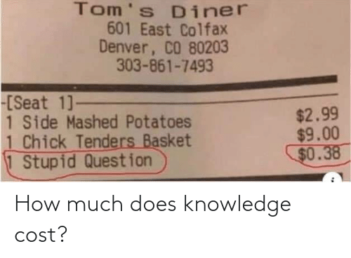 Knowledge, How, and  Much: How much does knowledge cost?