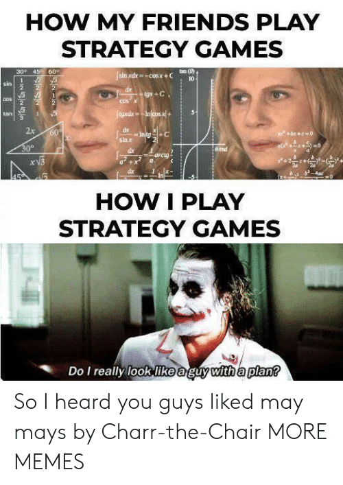 cos: HOW MY FRIENDS PLAY  STRATEGY GAMES  300 45 60°  tan (e)  sin xdx-COS X+C  10  2  1  sin  2  2  dx  tgx +C  2  COSX  COS  2  2  tgxdxIncos x+  5  tan  1  2x  dx  Intg+C  60  bc0  sin x  30°  8/rad  dbe  arcta  xV3  dx  4ac  0  In  HOW I PLAY  STRATEGY GAMES  Do I really look like aguy with a plan? So I heard you guys liked may mays by Charr-the-Chair MORE MEMES