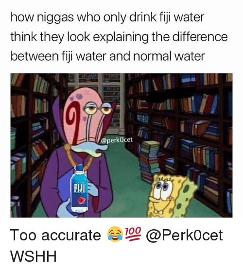 Fiji: how niggas who only drink fiji water  think they look explaining the difference  between fiji water and normal water  @perkOcet  FlJI Too accurate 😂💯 @Perk0cet WSHH