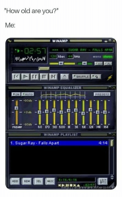 """Memes, Equalizer, and Misc: How old are you?""""  Me  WINAMP  mano stereo  WINAMP EQUALIZER  20at  PREAMP  60 170 310 600匡 38 6K 12K 14K 16K  WINAMP PLAYLIST =  1. Sugar Ray Falls Apart  4:14  14/4 14  ADO REM SEL MİSC  terco"""
