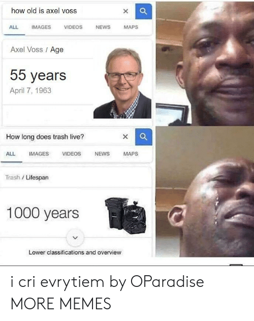 I Cri: how old is axel voss  ALL IMAGES VIDEOS NEWS MAPSs  Axel Voss Age  55 years  April 7, 1963  How long does trash live?  ALL IMAGES VIDEOS NEWSMAPS  Trash / Lifespan  1000 years  Lower classifications and overview i cri evrytiem by OParadise MORE MEMES