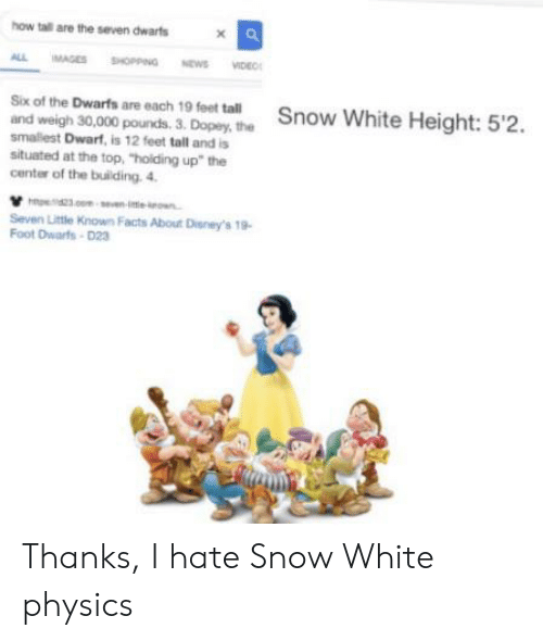 """Hate Snow: how tall are the seven dwarts  ALL  MAGES SHOPPING EVIDE  NEWS  Six of the Dwarfs are each 19 feet tall  Snow White Height: 5'2.  and weigh 30,000 pounds. 3. Dopey, the  smallest Dwarf, is 12 feet tall and is  situated at the top, """"holding up"""" the  center of the building. 4  23 n-ieo  Seven Little Known Facts About Dieney's 19  Foot Dwarts-D23 Thanks, I hate Snow White physics"""