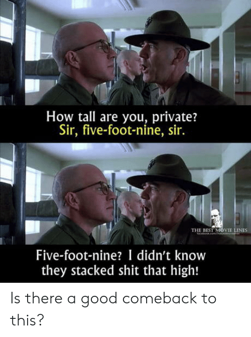 Good Comeback: How tall are you, private?  Sir, five-foot-nine, sir.  THE BEST MOVIE LINES  beomce  Five-foot-nine? I didn't know  they stacked shit that high! Is there a good comeback to this?