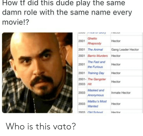 Rhapsody: How tf did this dude play the same  damn role with the same name every  movie!?  ew r uny  Ghetto  2001  Hector  Rhapsody  2001 The Animal  Gang Leader Hector  2001 Barrio Murders Hector  The Fast and  2001  Hector  the Furious  2001 Training Day  Hector  2001- The GangsterHector  2003 Hit  2003 Masked and  Anonymous  Inmate Hector  Malibu's Most  2003  Hector  Wanted  2003 Old School  Hector Who is this vato?