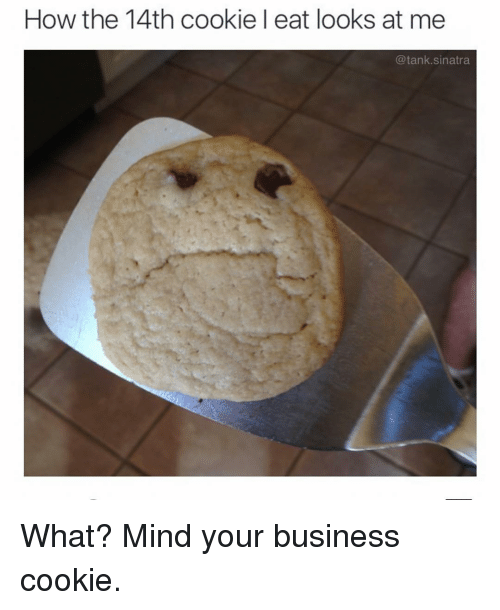 Funny, Business, and Mind: How the 14th cookie l eat looks at me  @tank.sinatra What? Mind your business cookie.