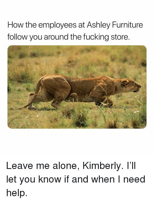 Being Alone, Fucking, and Furniture: How the employees at Ashley Furniture  follow you around the fucking store Leave me alone, Kimberly. I'll let you know if and when I need help.
