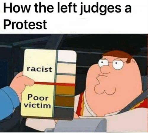 protestant: How the left judges a  Protest  racist  Poor  victim
