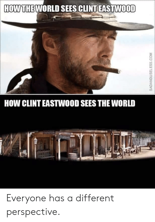 Clint Eastwood: HOW THE WORLD SEES CLINT EASTWOOD  HOW CLINT EASTWOOD SEES THE WORLD  ROONG  SADANDUSELESS.COM Everyone has a different perspective.