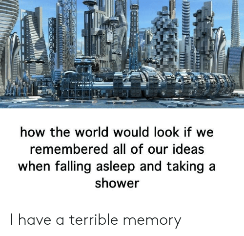 falling asleep: how the world would look if we  remembered all of our ideas  when falling asleep and taking a  shower I have a terrible memory