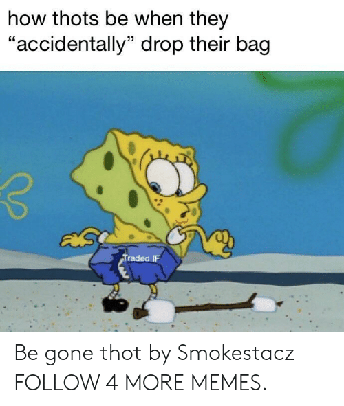 """Dank, Memes, and Target: how thots be when they  """"accidentally"""" drop their bag  Traded IF Be gone thot by Smokestacz FOLLOW 4 MORE MEMES."""