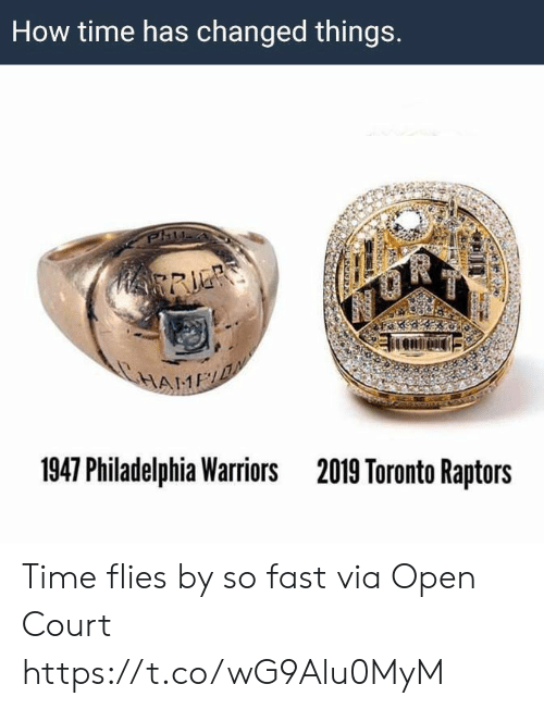 Toronto: How time has changed things.  HRRIE  HAME  1947 Philadelphia Warriors  2019 Toronto Raptors Time flies by so fast   via Open Court https://t.co/wG9Alu0MyM