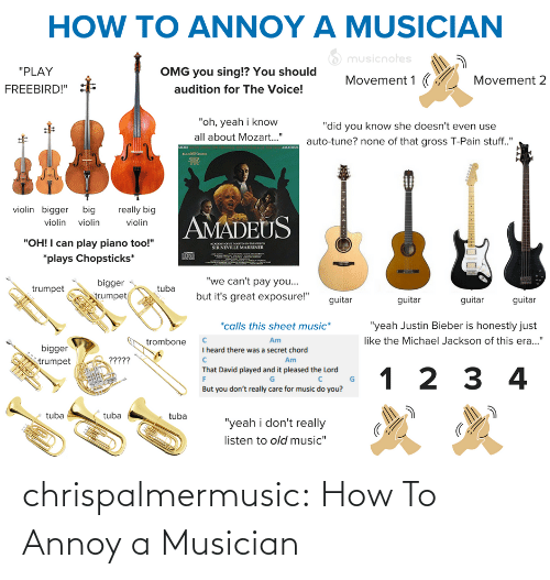 "How To: HOW TO ANNOY A MUSICIAN  O musicnotes  ""PLAY  OMG you sing!? You should  Movement 1 (  Movement 2  audition for The Voice!  FREEBIRD!""  ""oh, yeah i know  ""did you know she doesn't even use  all about Mozart..""  auto-tune? none of that gross T-Pain stuff.""  AMADEUS  MORE  violin bigger big  really big  AMADEUS  violin violin  violin  ""OH! I can play piano too!""  ACADO O SE MARTINNTHELOS  SIR NEVILLE MARRINER  *plays Chopsticks*  ""we can't pay you...  bigger  egn  but it's great exposure!""  trumpet  trumpet  guitar  guitar  guitar  guitar  *calls this sheet music*  ""yeah Justin Bieber is honestly just  like the Michael Jackson of this era...""  Am  trombone  bigger  I heard there was a secret chord  ?????  Am  trumpet  That David played and it pleased the Lord  1 2 3 4  But you don't really care for music do you?  tuba  tuba  tuba  ""yeah i don't really  listen to old music"" chrispalmermusic:  How To Annoy a Musician"