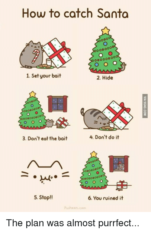 Pusheens: How to catch Santa  1. Set your bait  2. Hide  4. Don't do it  3. Don't eat the bait  00000  000000000  5. Stop!!  6. You ruined it  Pusheen com The plan was almost purrfect...