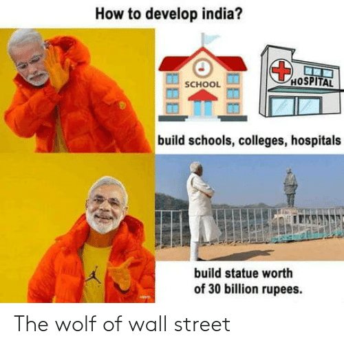 The Wolf of Wall Street: How to develop india?  HOSPITAL  SCHOOL  build schools, colleges, hospitals  build statue worth  of 30 billion rupees. The wolf of wall street