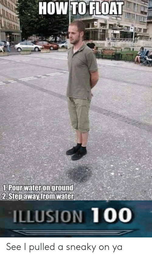 "How To, Water, and How: HOW TO FLOAT  1:Pourwateron ground,""  2. Stepawayfrom water  ILLUSION 100 See I pulled a sneaky on ya"