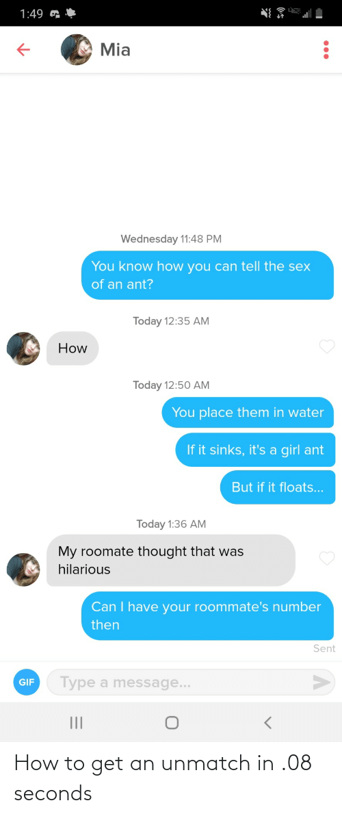 How To, How, and Get: How to get an unmatch in .08 seconds