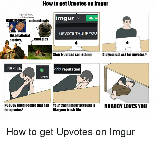 imgure: How to get Upvotes on Inngur  Ingredients:  imgur  v N  dank memes cute animals  UPVOTE THIS IF YOU  Inspirational  cool pics  stories  Step 1: Upload something  Did you just ask for upvotes?  -19 Points  -999 reputation  -19 Points  NOBODYlikes people that ask Your trash Imgur account is  NOBODY LOVES YOU  for up votes!  like your trash life. How to get Upvotes on Imgur