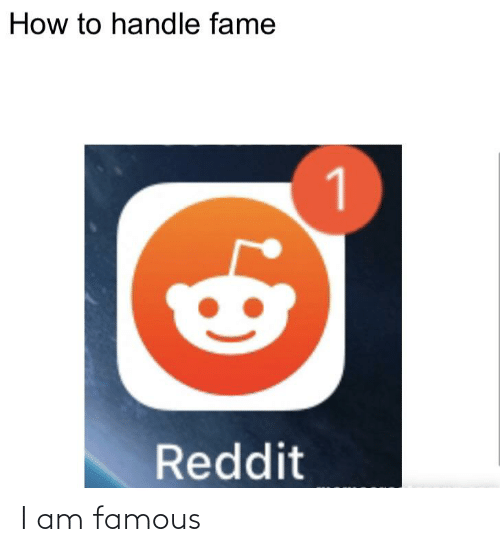 Handle Fame: How to handle fame  1  Reddit I am famous