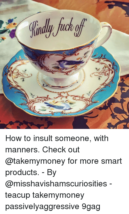 9gag, Memes, and How To: How to insult someone, with manners. Check out @takemymoney for more smart products. - By @misshavishamscuriosities - teacup takemymoney passivelyaggressive 9gag