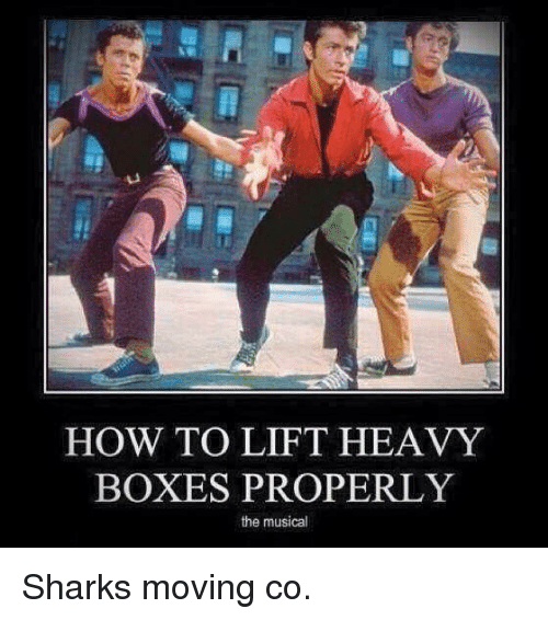 Memes, How To, and Sharks: HOW TO LIFT HEAVY  BOXES PROPERLY  the musical Sharks moving co.