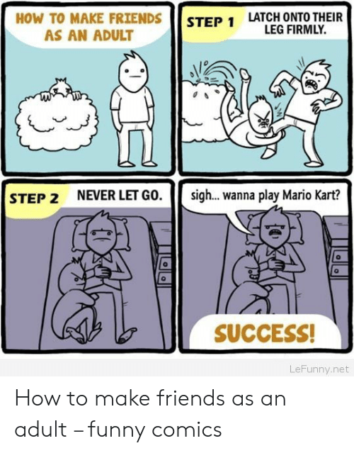 Make Friends: HOW TO MAKE FRIENDS  LATCH ONTO THEIR  LEG FIRMLY.  STEP 1  AS AN ADULT  NEVER LET GO.  sig... wanna play Mario Kart?  STEP 2  SUCCESS!  LeFunny.net How to make friends as an adult – funny comics