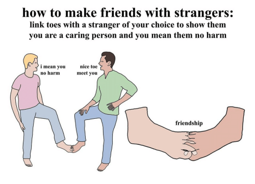 toes: how to make friends with strangers:  link toes with a stranger of your choice to show them  you are a caring person and you mean them no harm  nice toe  i mean you  meet you  no harm  friendship