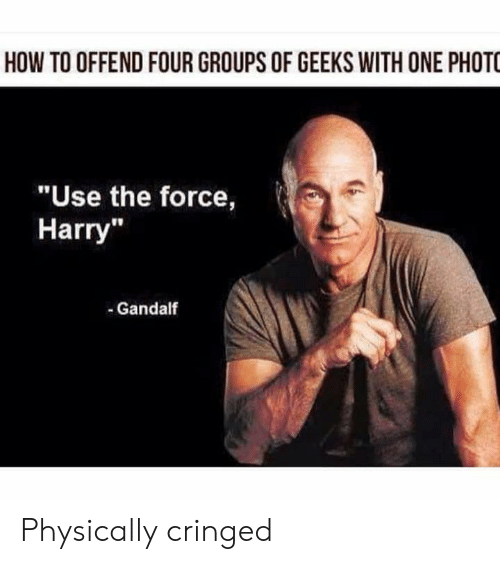 "Gandalf, How To, and Terrible Facebook: HOW TO OFFEND FOUR GROUPS OF GEEKS WITH ONE PHOTO  ""Use the force,  Harry""  -Gandalf Physically cringed"