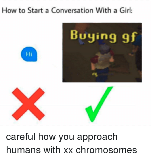How To Start A Conversation With A Girl: How to Start a Conversation With a Girl:  Buying gf  Hi <p>careful how you approach humans with xx chromosomes</p>