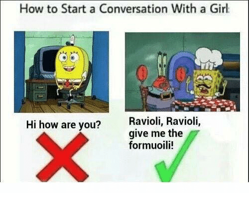 Starting A Conversation With A Girl: How to Start a Conversation With a Girl  Hi how are you?  Ravioli, Ravioli,  give me the  formuoili!